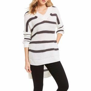 Elan Oversized V Neck Striped Knit Sweater